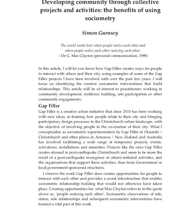 Developing community through collective projects and activities: the benefits of using sociometry